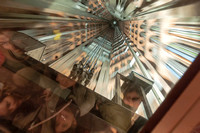 View Through the Elevator Roof in Brussels Atomium